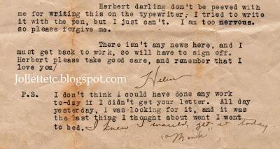 Letter from Helen Killeen to Herbert Parker July 1926 https://jollettetc.blogspot.com
