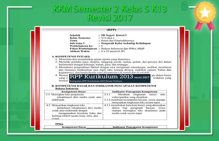 KKM Semester 2 Kelas 5 K13 Revisi 2017