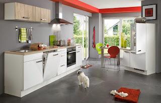 cocina blanco rojo gris