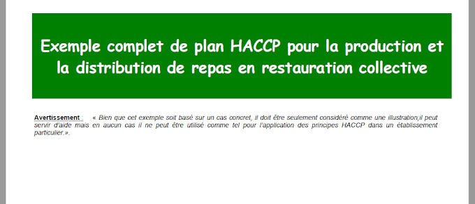 Exemple plan HACCP pour la production et la distribution de repas en restauration collective