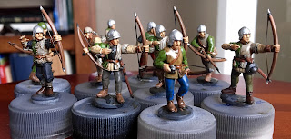 Perry Wars of the Roses plastic archers Speed painting SquadPainter 28mm Bloody Barons wired bows Army Painter Quickshade Strong Tone