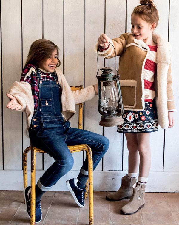 Moda otoño invierno 2018 ropa de niños y niñas. Enteritos de jeans moda invierno 2018.