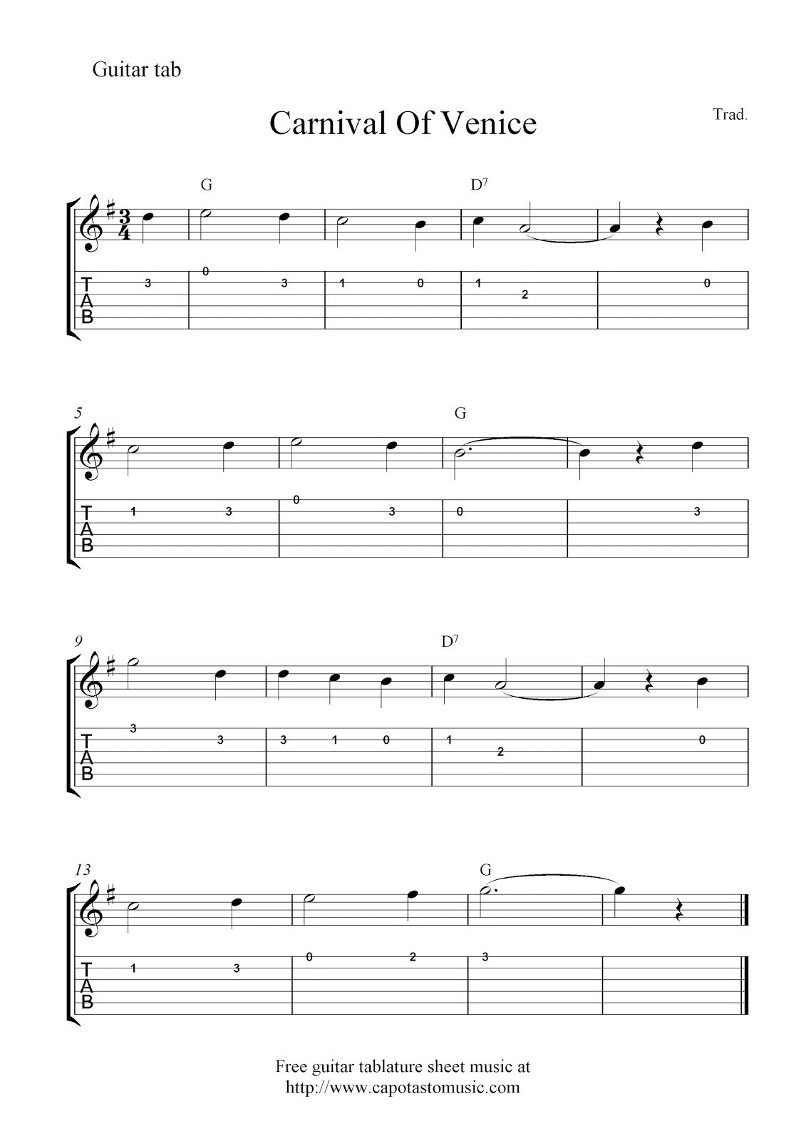 Free Guitar Tablature Sheet Music Carnival Of Venice