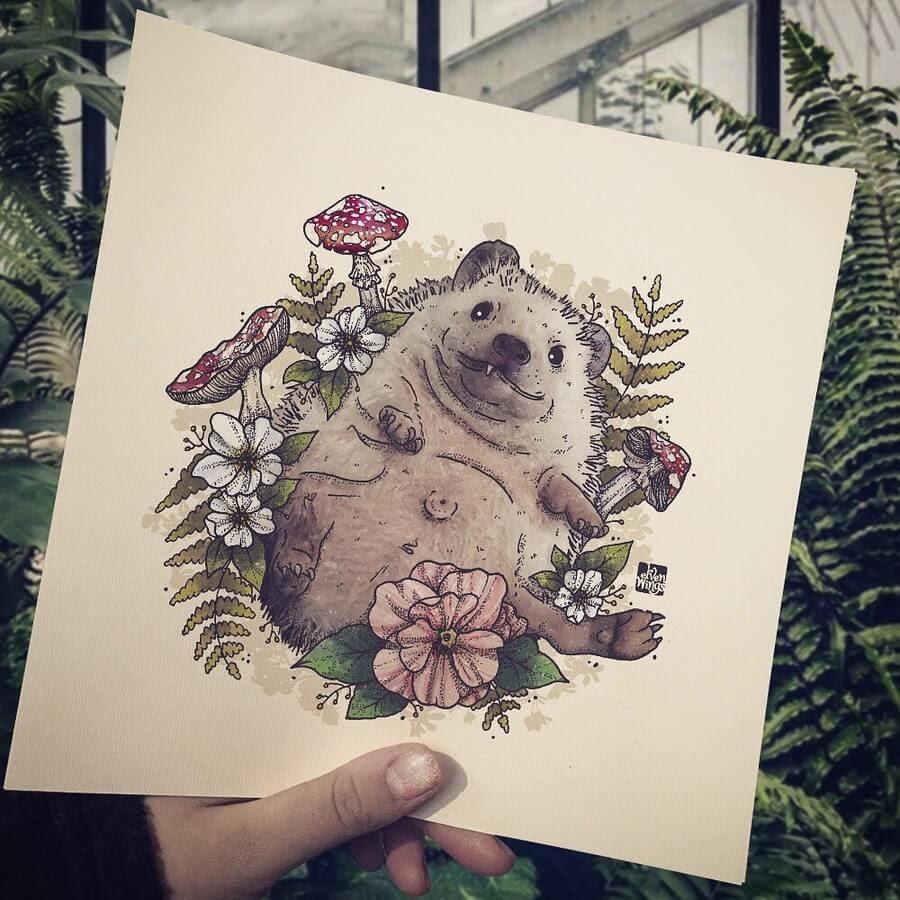 02-Hedgehog-elvenwings-Animal-Portraits-www-designstack-co