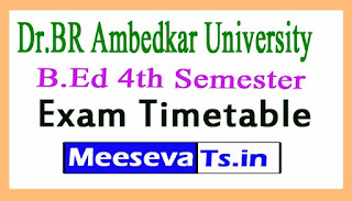 Dr.BR Ambedkar University (BRAU)B.Ed 4th Semester Exam Timetable 2017