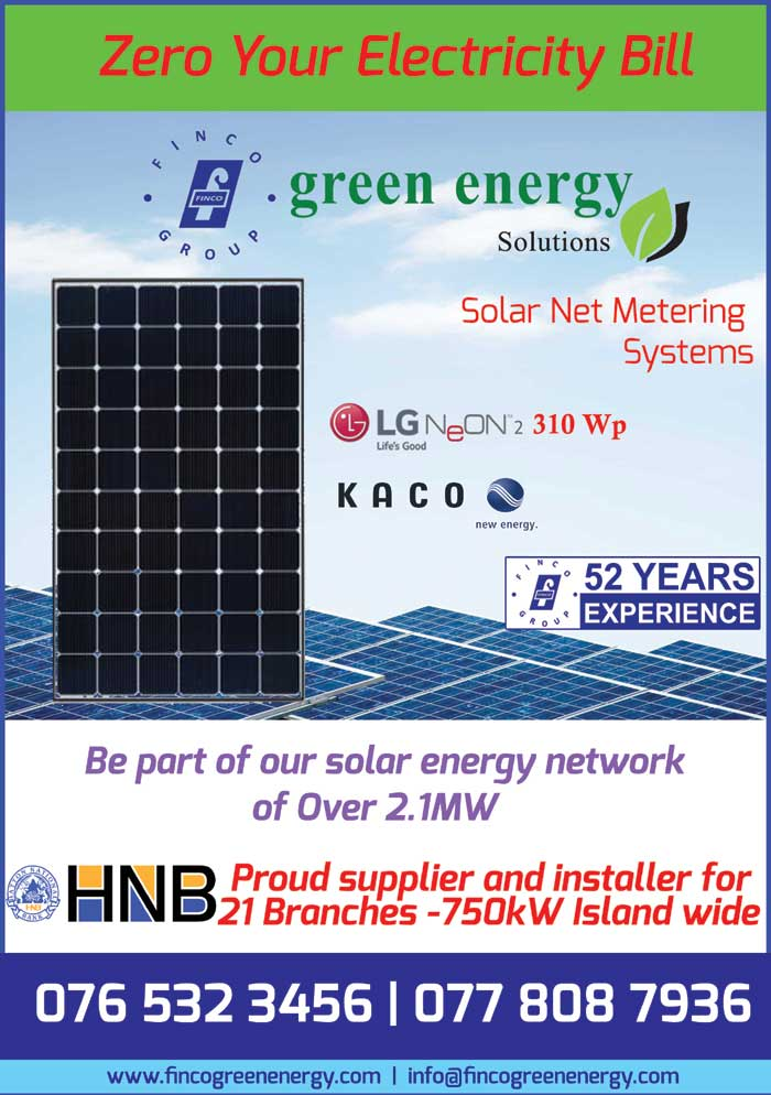 Finco Green Energy Solutions (Pvt) Ltd., a fully owned subsidiary of Finco Group of Companies focusing on Sustainability Solutions.