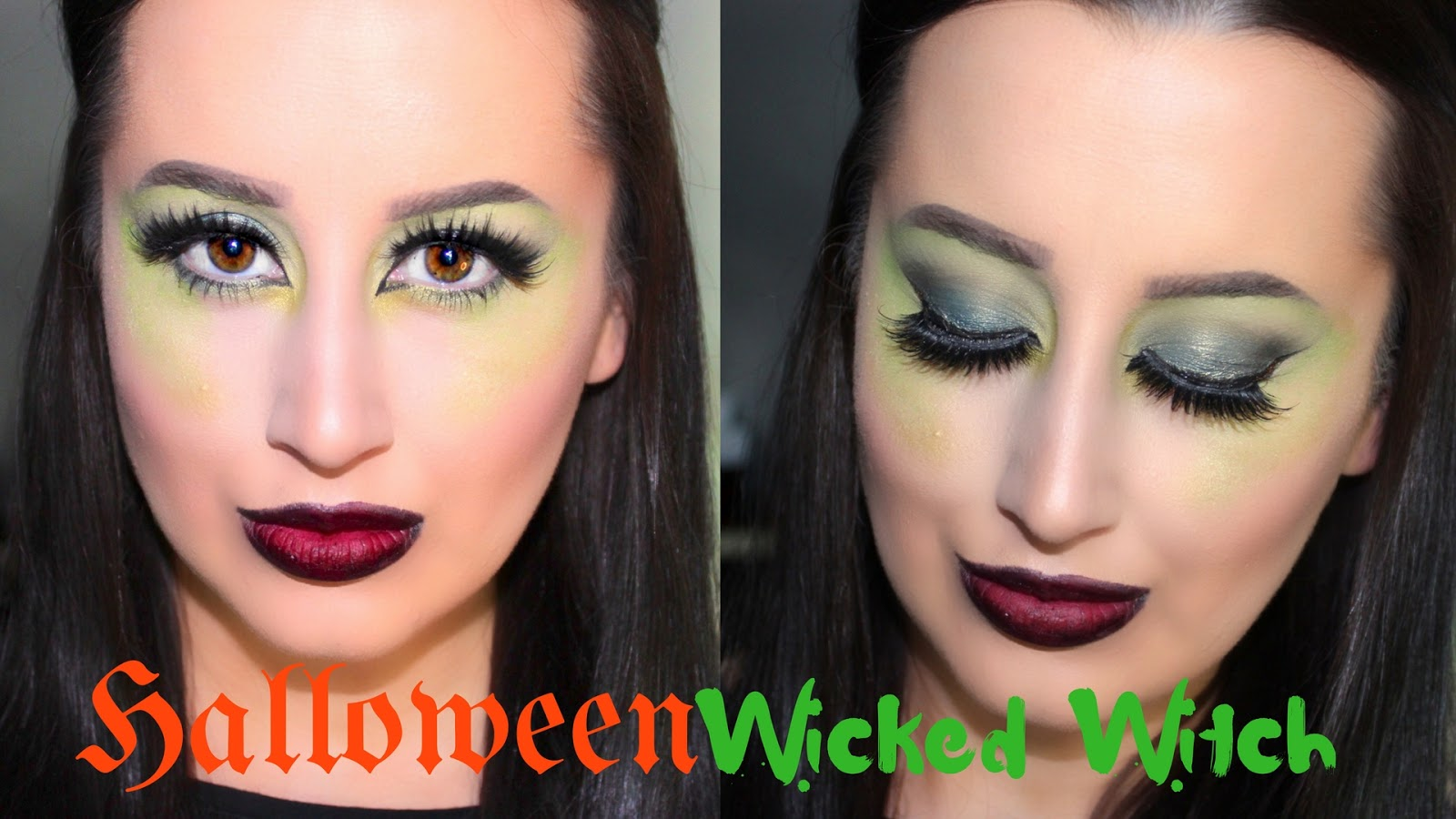 Easy Wicked Witch Halloween Makeup Tutorial | Green Eyes U0026 Ombre Bitten Lips | Ashley Riley