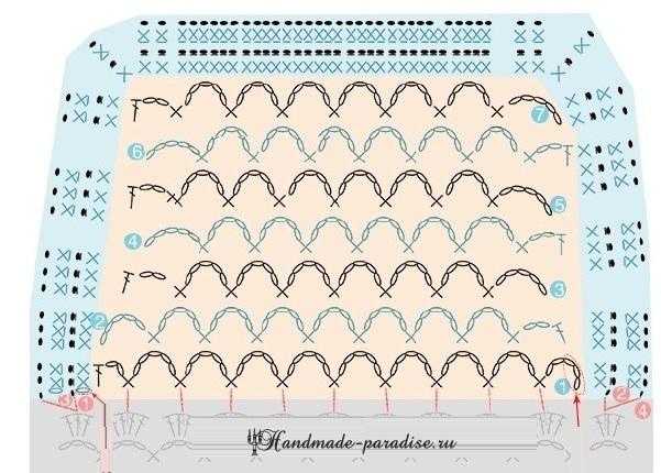 Схема вязания клапана кармана