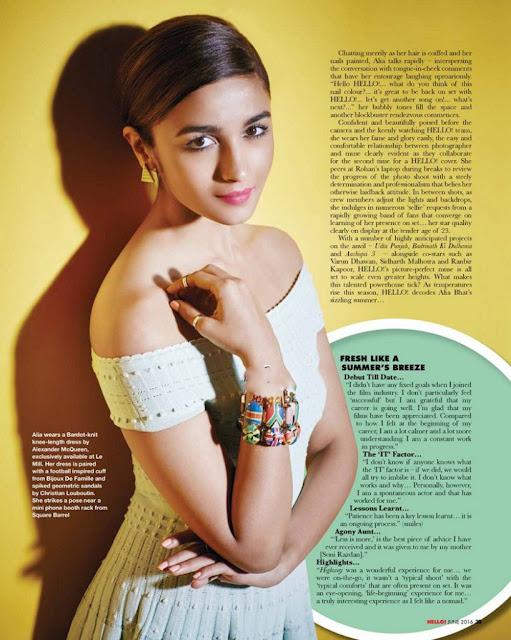 Dream Girl Alia Bhatt On HELLO India Magazine June 2016 – HQ PICS