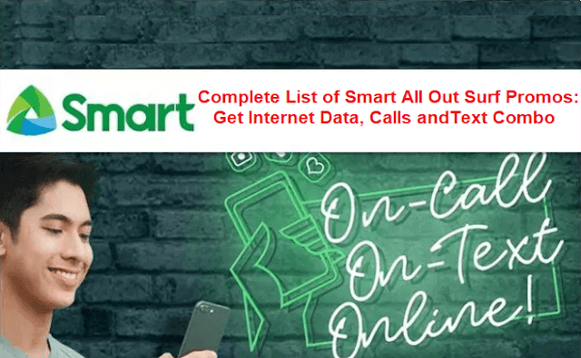 Complete List of Smart All Out Surf Promos: Get Internet Data, Calls and Texts Combo