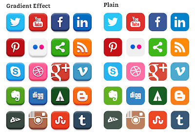 20 Popular Social Media Icons (PSD)