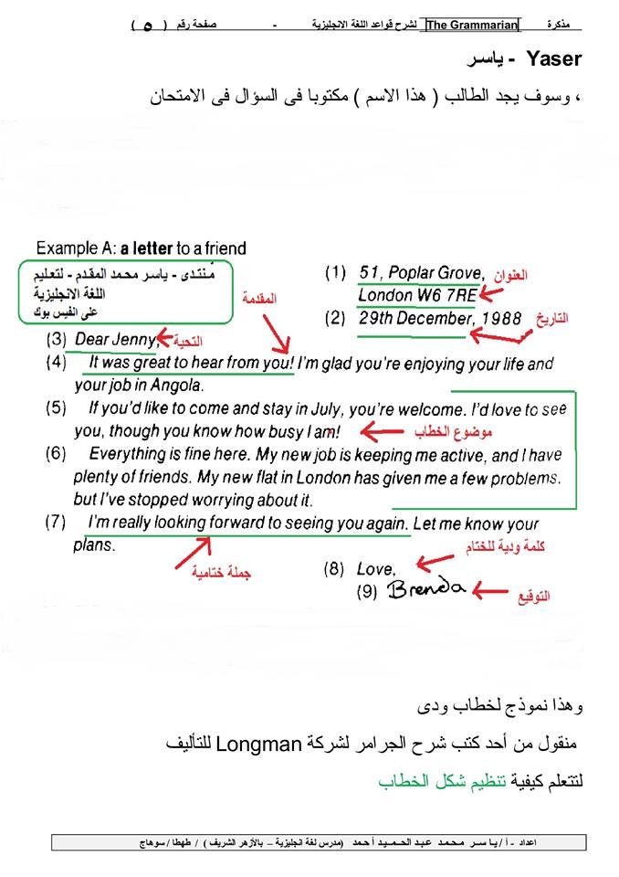 شرح لطريقة كتابة الخطاب + نموذج للتدريب من كتاب (المعاصر) + نموذج للاطلاع من احد كتب تعليم اللغة الانجليزية الاجنبية 5