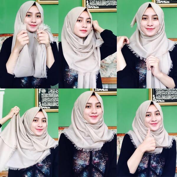 Tutorial Hijab Katun Rawis Segi Empat - Kumpulan Contoh