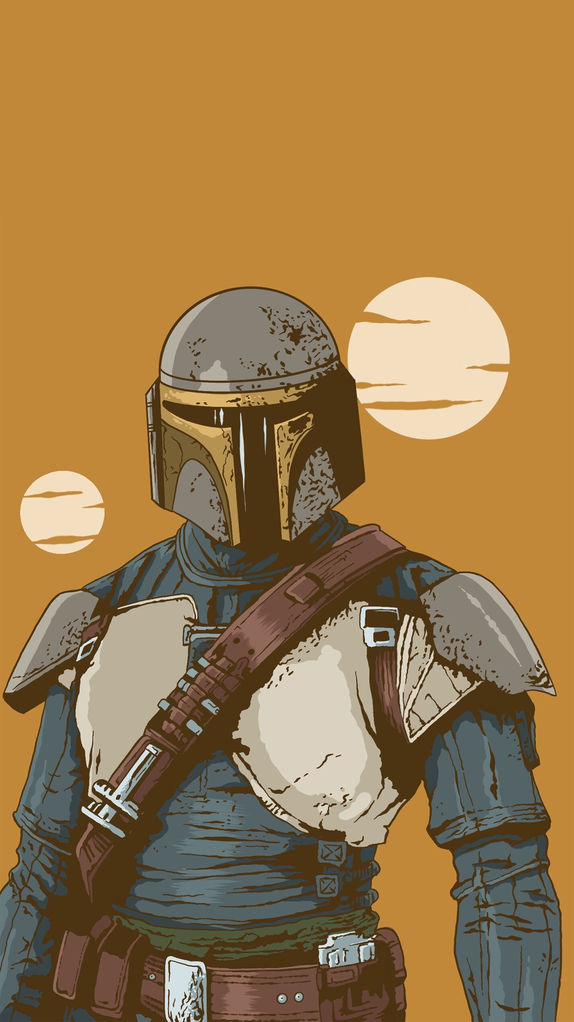 the mandalorian phone wallpaper%2Bart%2Bby%2BOliver%2BKuhlmann
