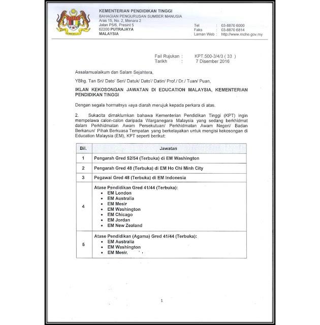 Jawatan Kosong di Kementerian Pendidikan Tinggi Malaysia