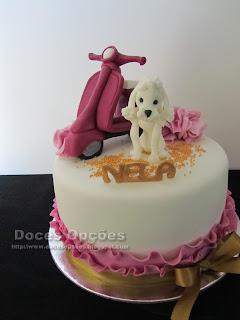 bolo aniversário parabens prendas caniche