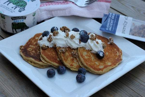 Sprouted Grain Blueberry Pancakes with yogurt and granola