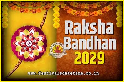 2029 Raksha Bandhan Date and Time, 2029 Raksha Bandhan Calendar