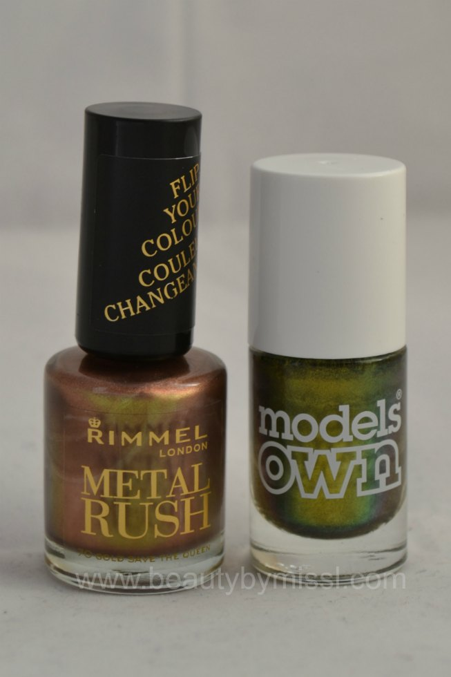 Rimmel  Metal Rush Gold Save the Queen, Models Own Golden Green