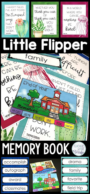 What a perfect way to store those cherished memories of the school year! It's a Little Flipper featuring End-of-the-Year Memories. Create a 6-7 page mini booklet with your students to preserve those special days of the year. Included are simple teacher directions, 2 choices of covers in color and black/white, and 2 versions of pages and images. Choose what works best for your students. A fabulous way to stay busy on those last days of school and create something to remember the year.