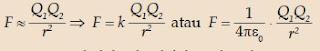 Hukum Coloumb dapat ditulis dalam persamaan