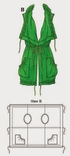 patrón de abrigo con un rectángulo de tela