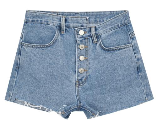 High Waist Button-Up Denim Shorts