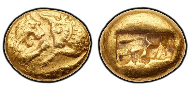 Moneda de oro del rey Creso de Lidia