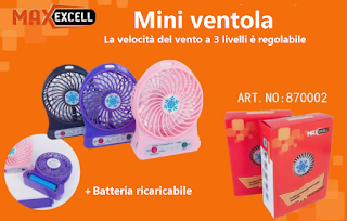 mini ventilatore usb ricaricabile maxexcell