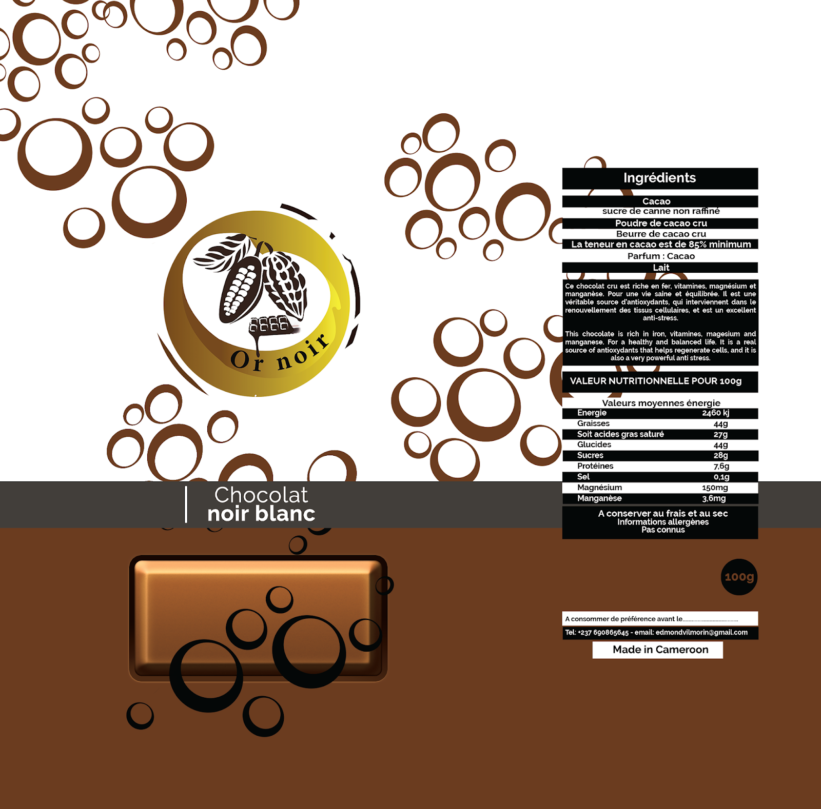 Chocolat noir Blanc - Or noir