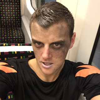 Zombie football player on the tube.