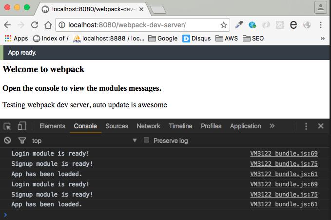 webpack-dev-server app status bar
