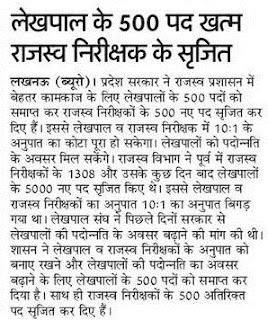 UP Rajasva Nirikshak Recruitment 2018 Revenue Inspector 1500 Jobs