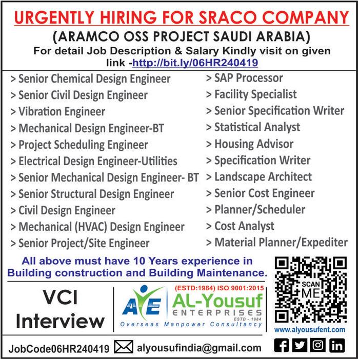 SRACO COMPANY JOBS : FOR SAUDI ARAMCO PROJECT : AL YOUSUF