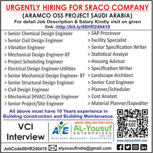 Saudi Arabia Jobs, Saudi Aramco Jobs, Chemical Engineer, Civil Engineer, Design Engineer, SRACO Jobs, Mechanical Engineer, HVAC Engineer, Cost Analyst, Electrical Engineer, Landscape Architecht, SAP Processor