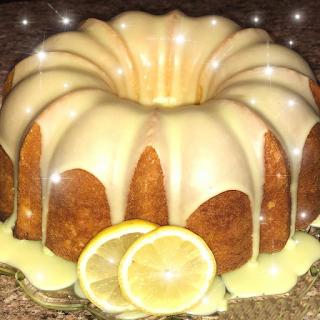 Homemade lemon Pound Cake with lemon glaze