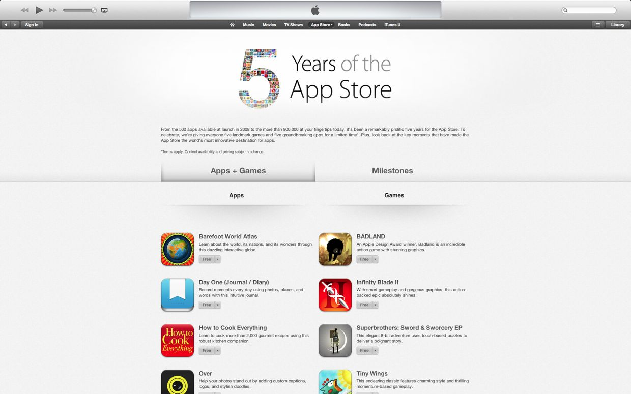 Free applications for five years from the App Store