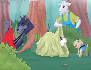 قصص اطفال قصيرة قصة الذئب والخراف الصغيرة