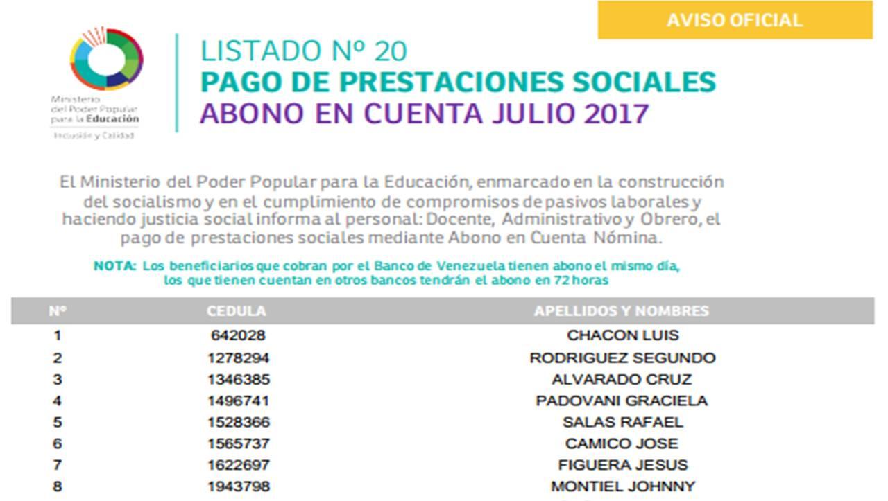 20 Listado De Pago Prestaciones Sociales 2017 Amor Mayor