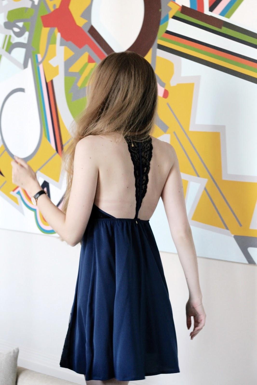 Blue and black lace Biba Chemise