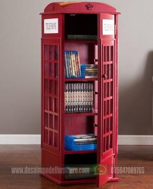 Lemari Buku Model box Telephone London