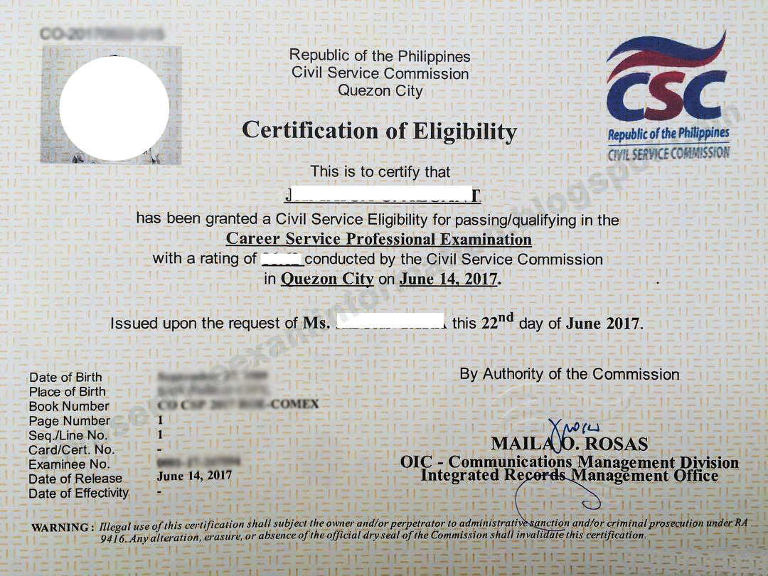 Civil service exam ph how to claim certificate of eligibility certification of eligibility printed in security paper can be authenticated no expiration 100 pesos aiddatafo Gallery