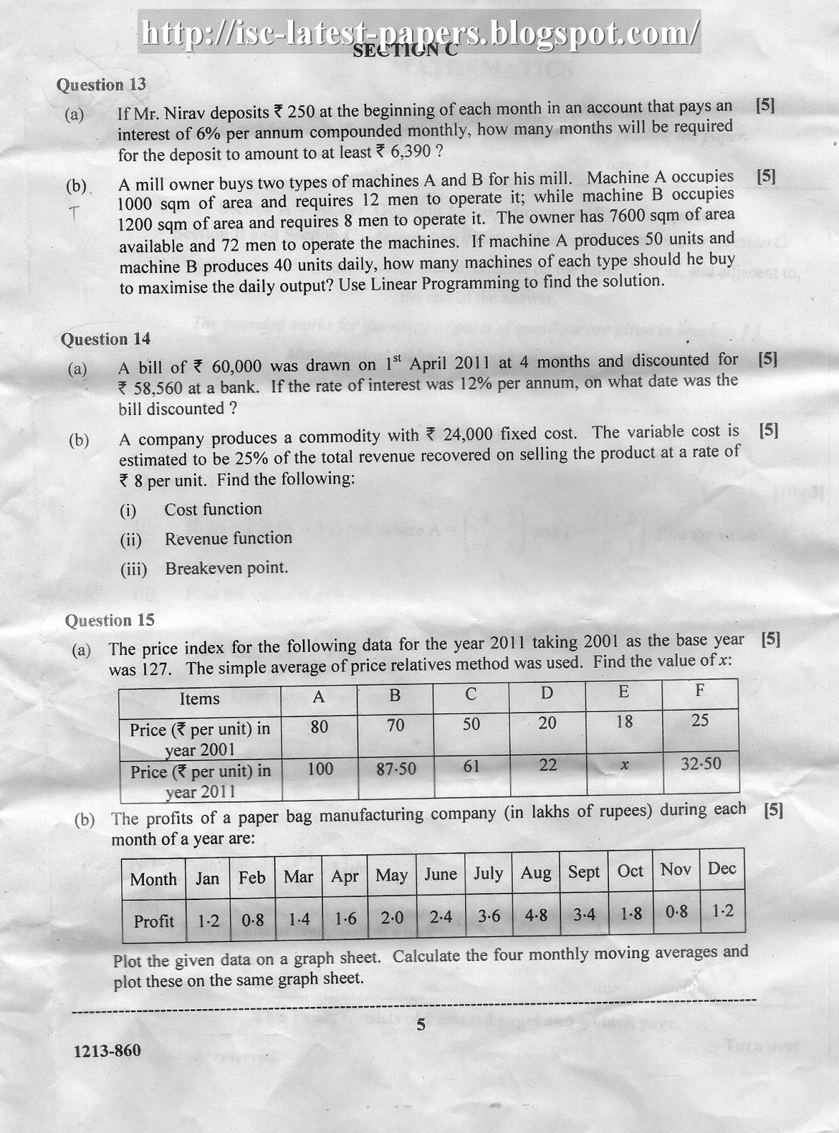 isc latest question papers  isc mathematics question paper