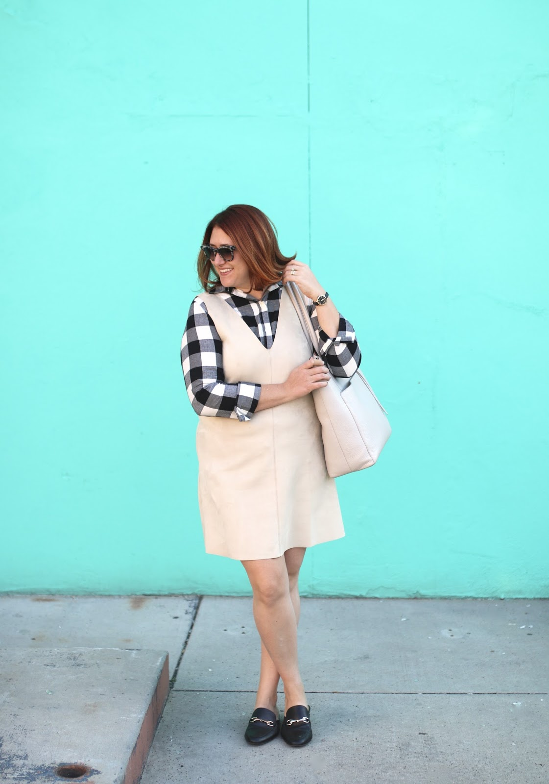 target black gucci look alike mules, buffalo plaid, zara faux suede dress, dagne dover Charlie tote