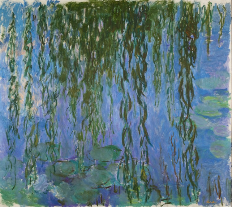 Claude Monet, Water Lilies with Weeping Willows, 1916 – 19 Jardín en Giverny