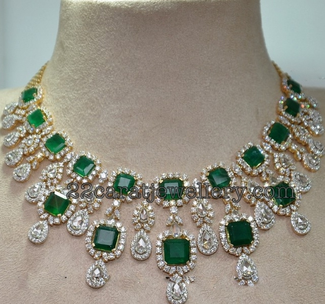 Diamond Emerald Necklace Jewellery Designs