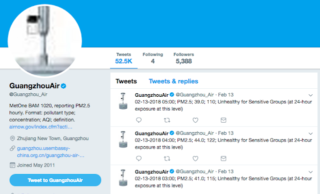 GuangzhouAir Twitter account page for air quality reporting