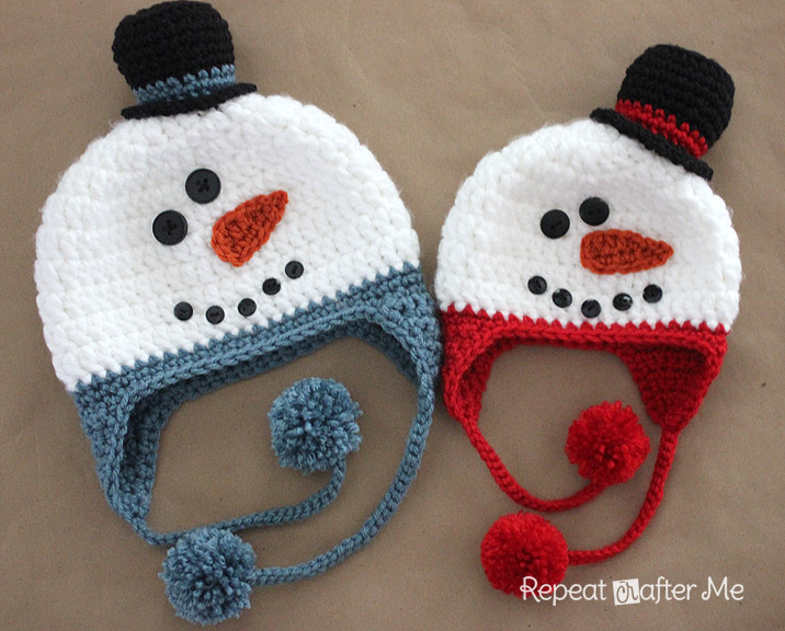 e7a0528e0e5 Crochet Snowman Hat Pattern - Repeat Crafter Me