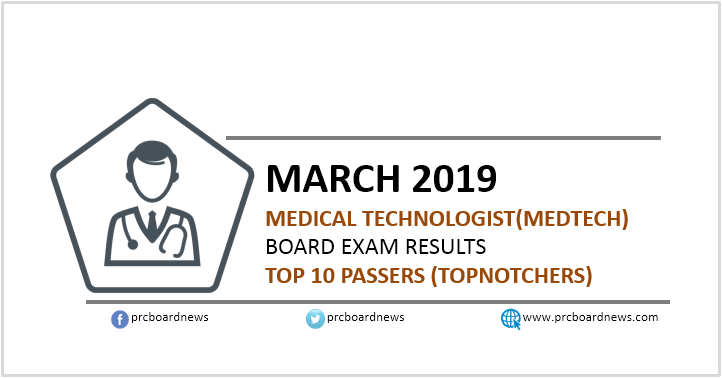 TOP 10 PASSERS: March 2019 Medtech board exam result