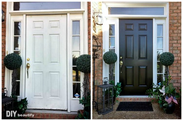 Front Door Makeover With New Paint Diy Beautify